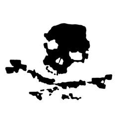 grunge black pirate skull vector image