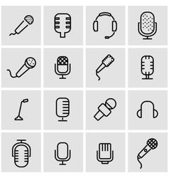line microphone icon set vector image