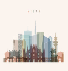 milan skyline detailed silhouette vector image vector image