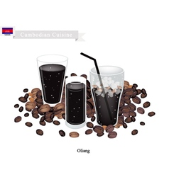 Oliang or cambodian black coffee with ice vector