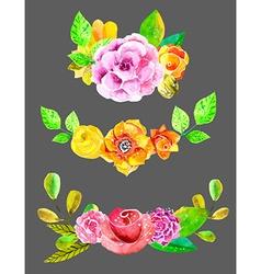 Watercolor flowers set vector image vector image