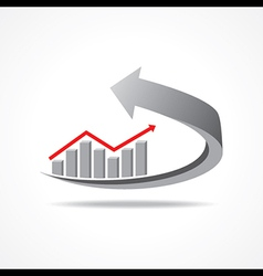 business graph on arrow vector image