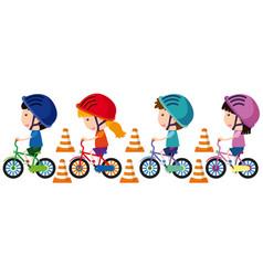 children riding bike with helmet on vector image