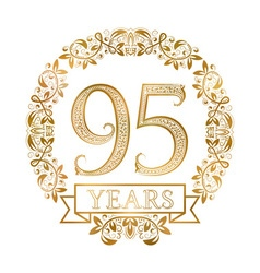 Golden emblem of ninety fifth years anniversary in vector