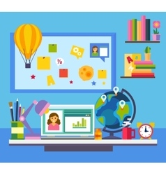 Online education e-learning science concept with vector
