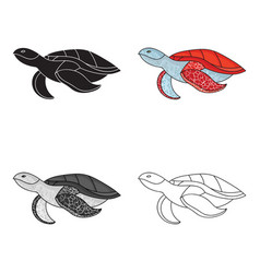 sea turtle icon in cartoon style isolated on white vector image vector image