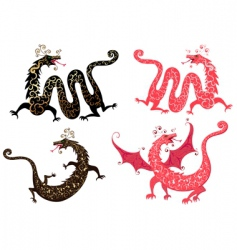 set of Chinese dragon vector image vector image