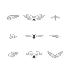 set of different airplanelogos vector image vector image