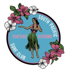 vintage hawaiian hula badge vector image vector image