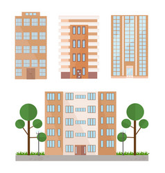 buildings facades set flat style vector image vector image
