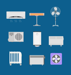 cartoon heating devices color icons set vector image vector image