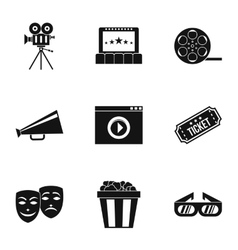 Cinematography icons set simple style vector