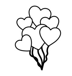 Hand drawn silhouette with balloons of hearts vector