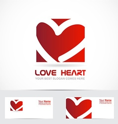 Love heart logo red vector image
