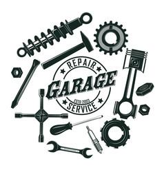 monochrome vintage garage tools round concept vector image vector image
