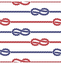 Nautical ropes with knots seamless pattern vector image