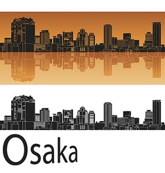 Osaka skyline in orange vector image