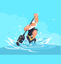 strong man in canoe vector image
