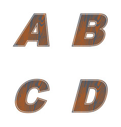 Abcd letters of brown color design of old wood vector