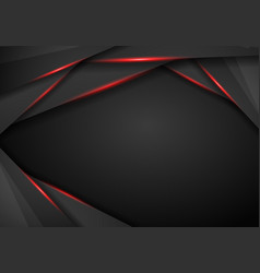Abstract metallic black red frame sport design vector