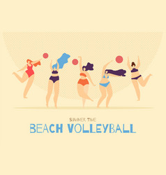 beach volleyball playing woman banner template vector image