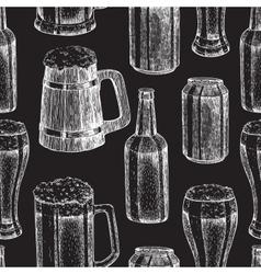 Beer seamless pattern Beer glass mug vector