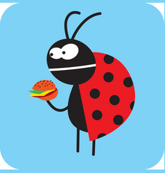Beetle is going to eat tasteless fast food vector