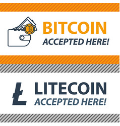 bitcoin litecoin accepted here sticker vector image