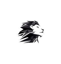 black creative geometric lion head logo symbol vector image