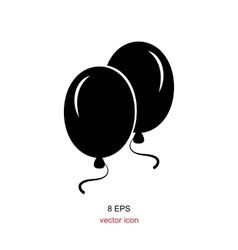 Black party balloon icon isolated on white vector