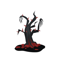 black terrible tree with bloody red thorns vector image