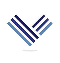 Blue letter V logo Design element Isolated on vector image
