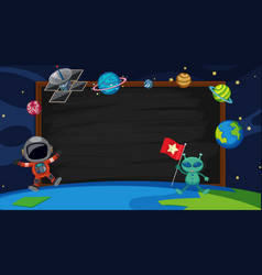 Border template with alien and astronaut vector
