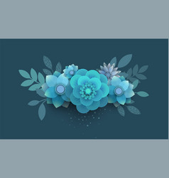 Bouquet of paper flowers blue vector