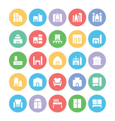 Building and Furniture Icons 5 vector image