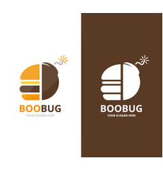 Burger and bomb logo combination hamburger vector