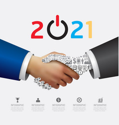 business 2021 handshake success concept abstract vector image