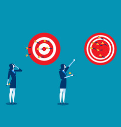 Businesswoman throwing darts at dart board vector