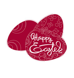 Card with dark red eggs and handwritten word happy vector