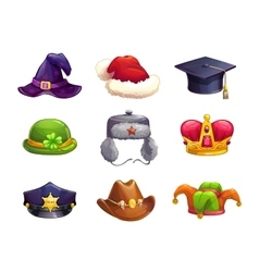 Cartoon different hat icons set vector image