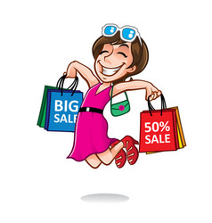 Cartoon happy shopper girl vector