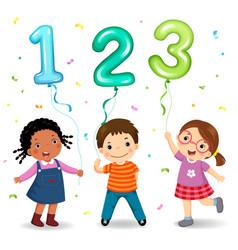 Cartoon kids holding number 123 shaped balloons vector