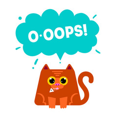 Cat eating fish ooops conce vector