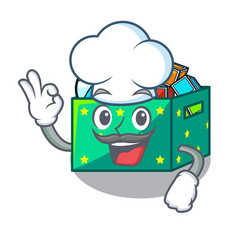 chef cartoon toy boxes in a bedroom vector image