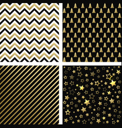 Christmas black and gold seamless patterns vector