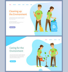 Cleaning environment people helping ecology web vector