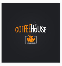 coffee beans logo house sign on black vector image