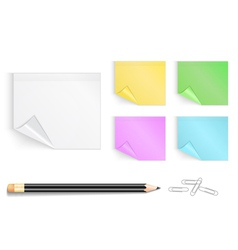 Colorful stickers with pencil and paper clips vector image vector image
