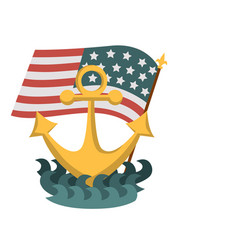 Columbus day poster with anchor and american flag vector