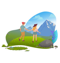 Couple in mountains hiking and traveling date vector